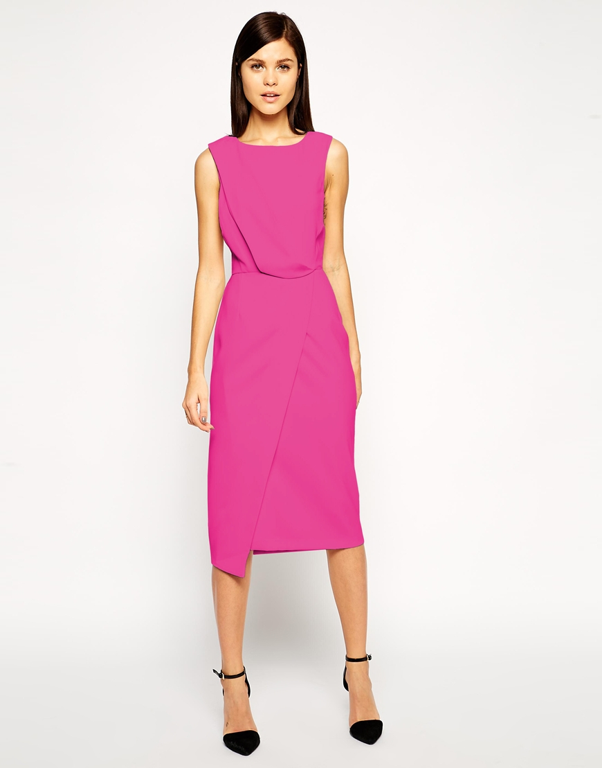Asos Pencil Dress With Drape And Asymmetrical Wrap In Pink