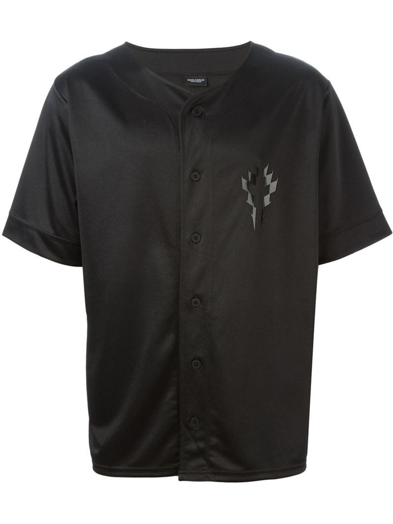 Marcelo burlon button down t shirt in black for men lyst for Button down t shirts