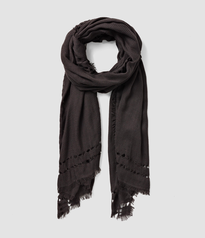 allsaints spine scarf usa usa in black cinder lyst
