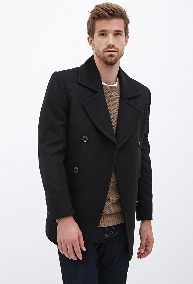 10ae9a38179 Lyst - Forever 21 Wool-blend Peacoat in Black for Men