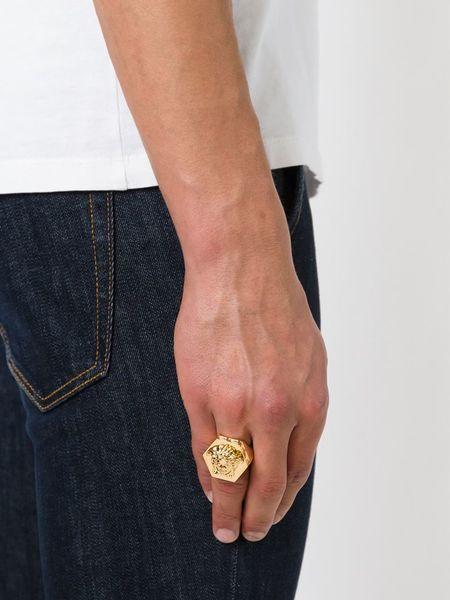 Versace Medusa Pentagone Ring in Gold for Men metallic