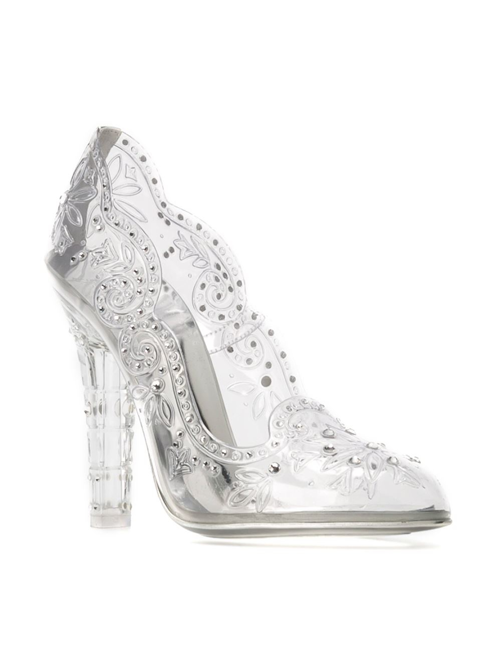 0582a077931 Dolce & Gabbana White Embellished Clear Pumps