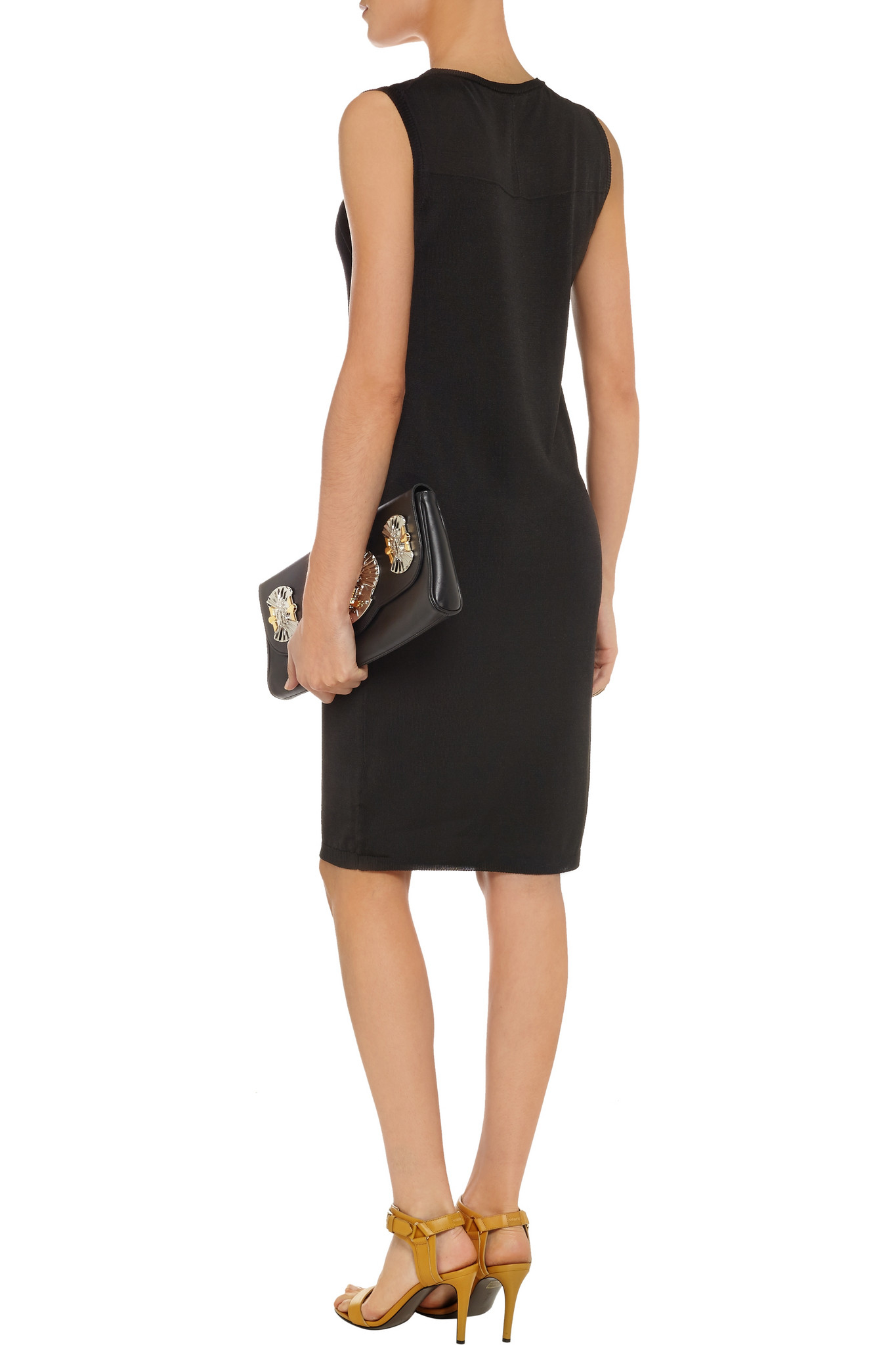 Versace Jeans Couture Denim Embellished Stretch-jersey Dress in Black