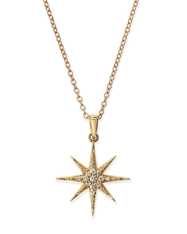 Lyst mizuki pave diamond star pendant necklace in yellow gallery aloadofball Choice Image