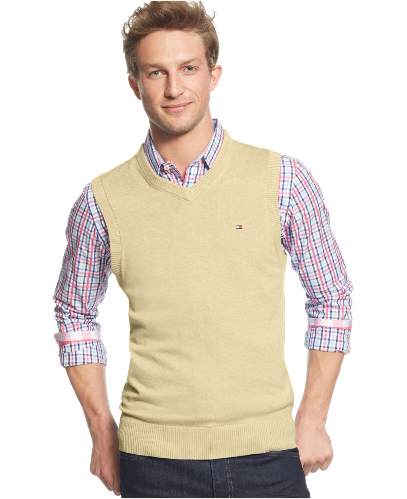 Tommy hilfiger Signature V-neck Sweater Vest in Natural for Men | Lyst