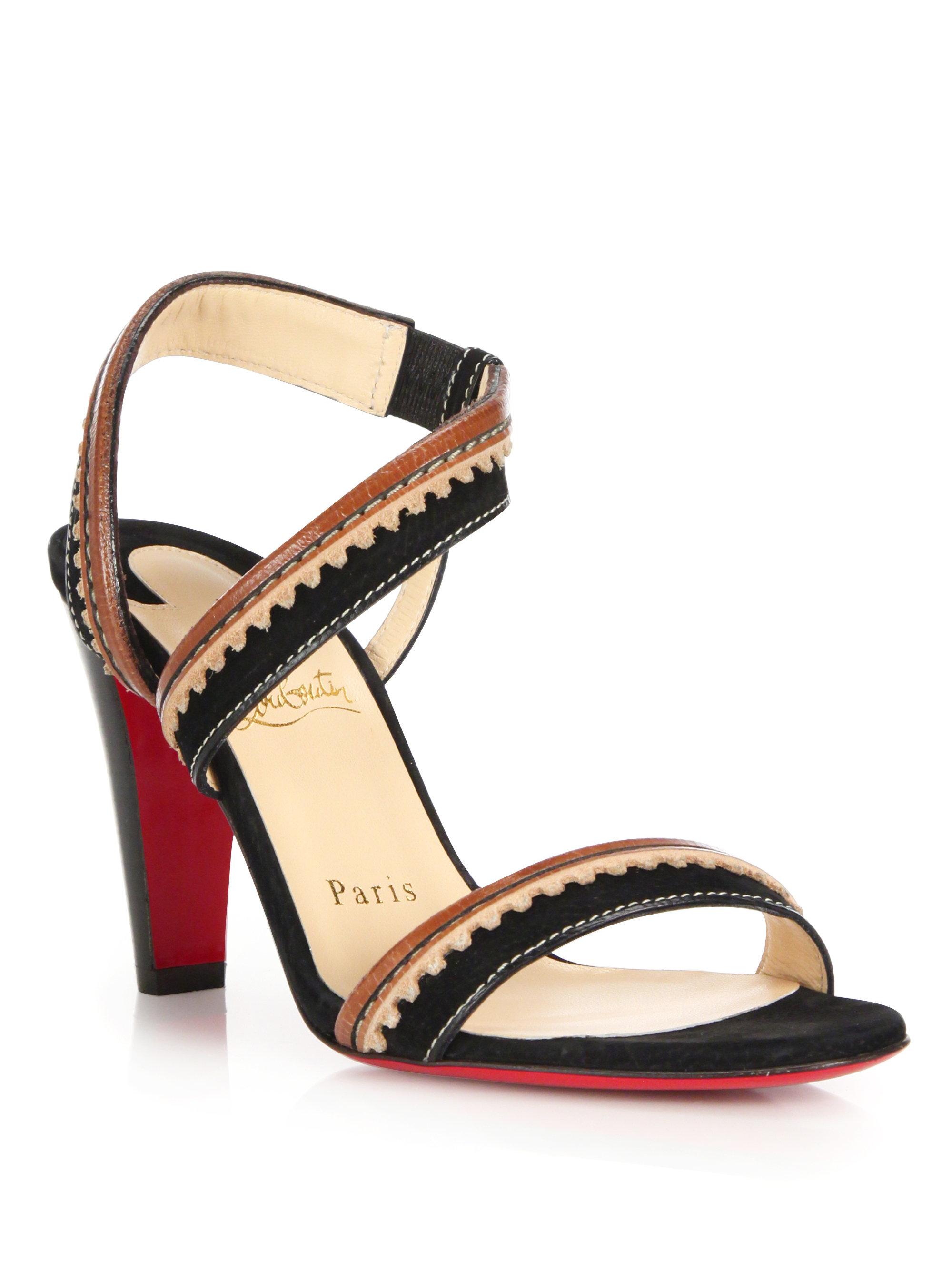 c9d6e82b156 Christian Louboutin Brown Trepi City Suede & Leather Sandals