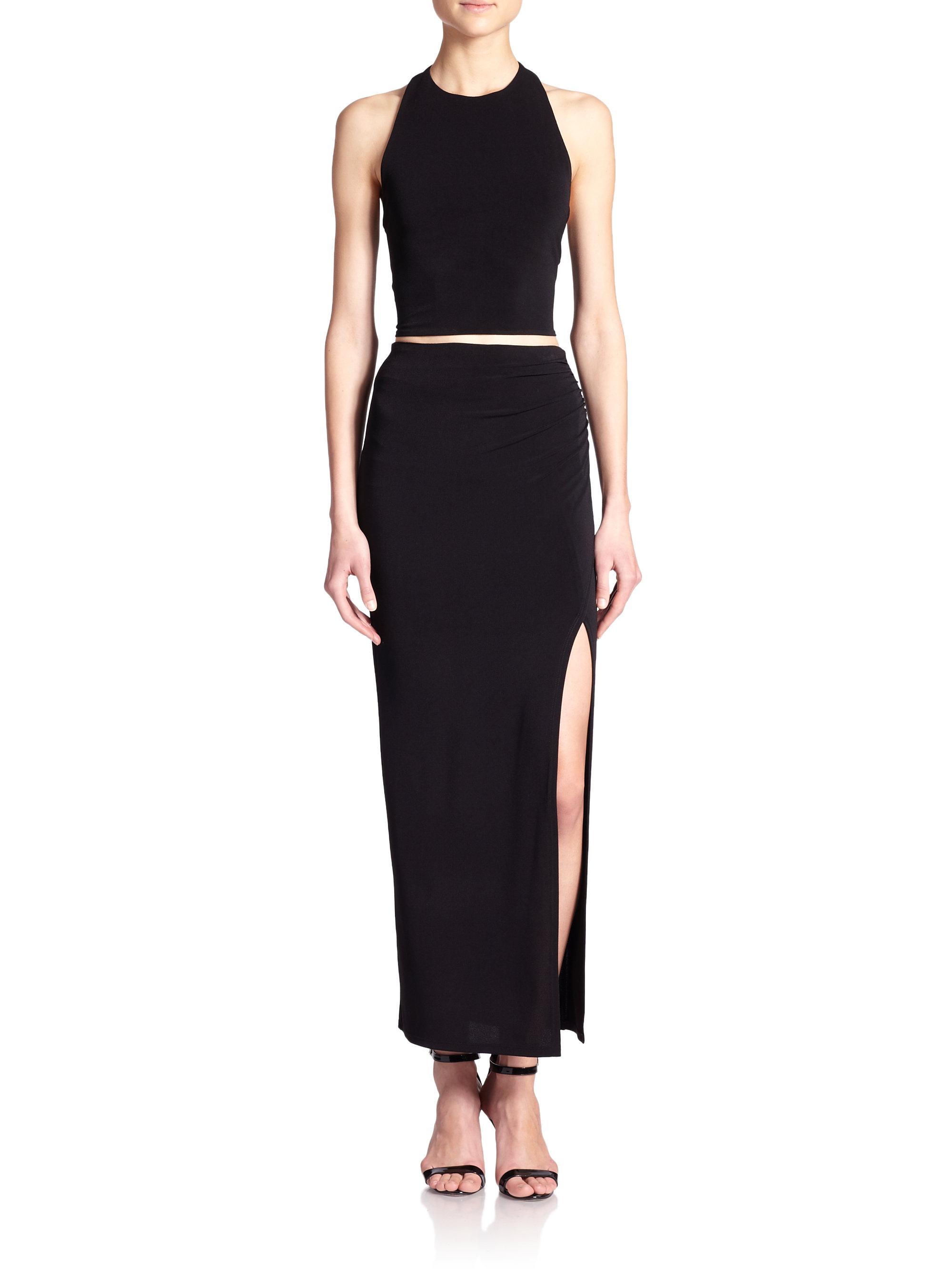 high slit maxi skirt in black lyst