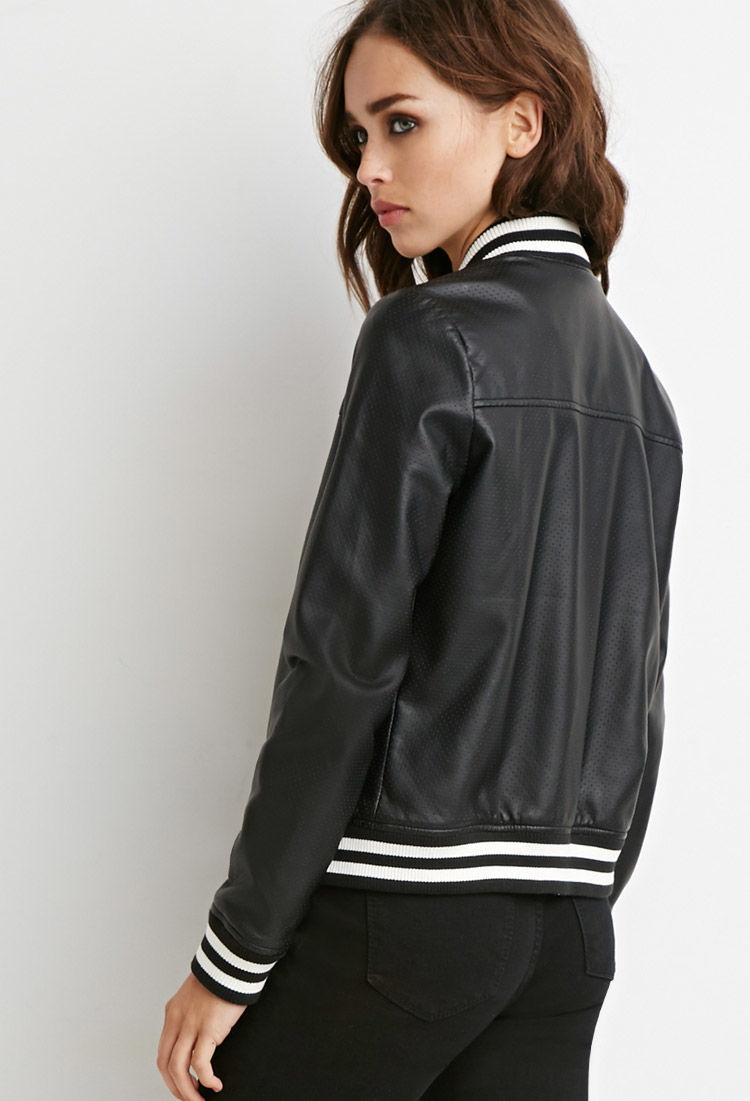 142578821 Forever 21 Black Perforated Faux Leather Bomber Jacket