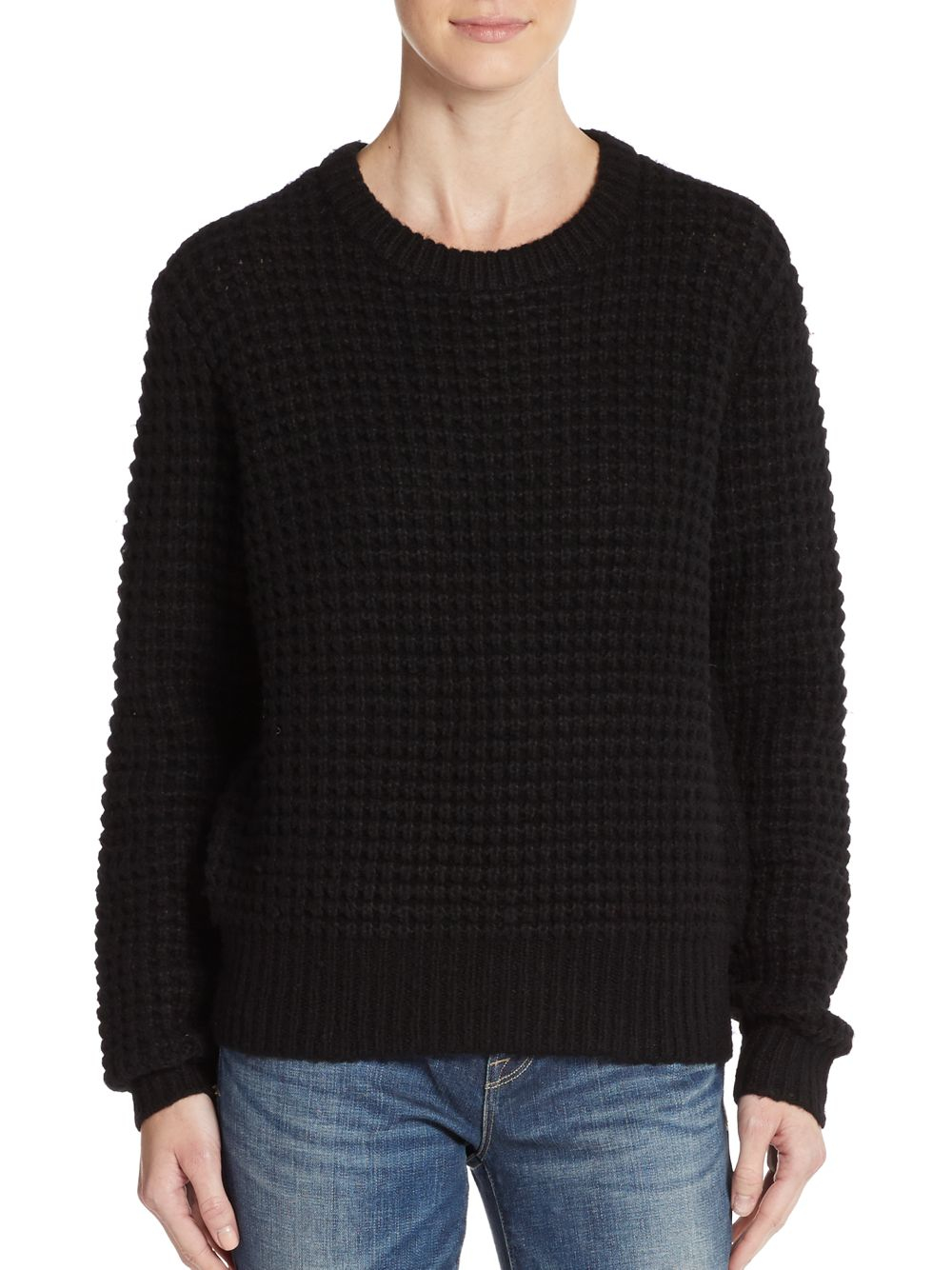 marc by marc jacobs wally waffle knit sweater in black lyst. Black Bedroom Furniture Sets. Home Design Ideas