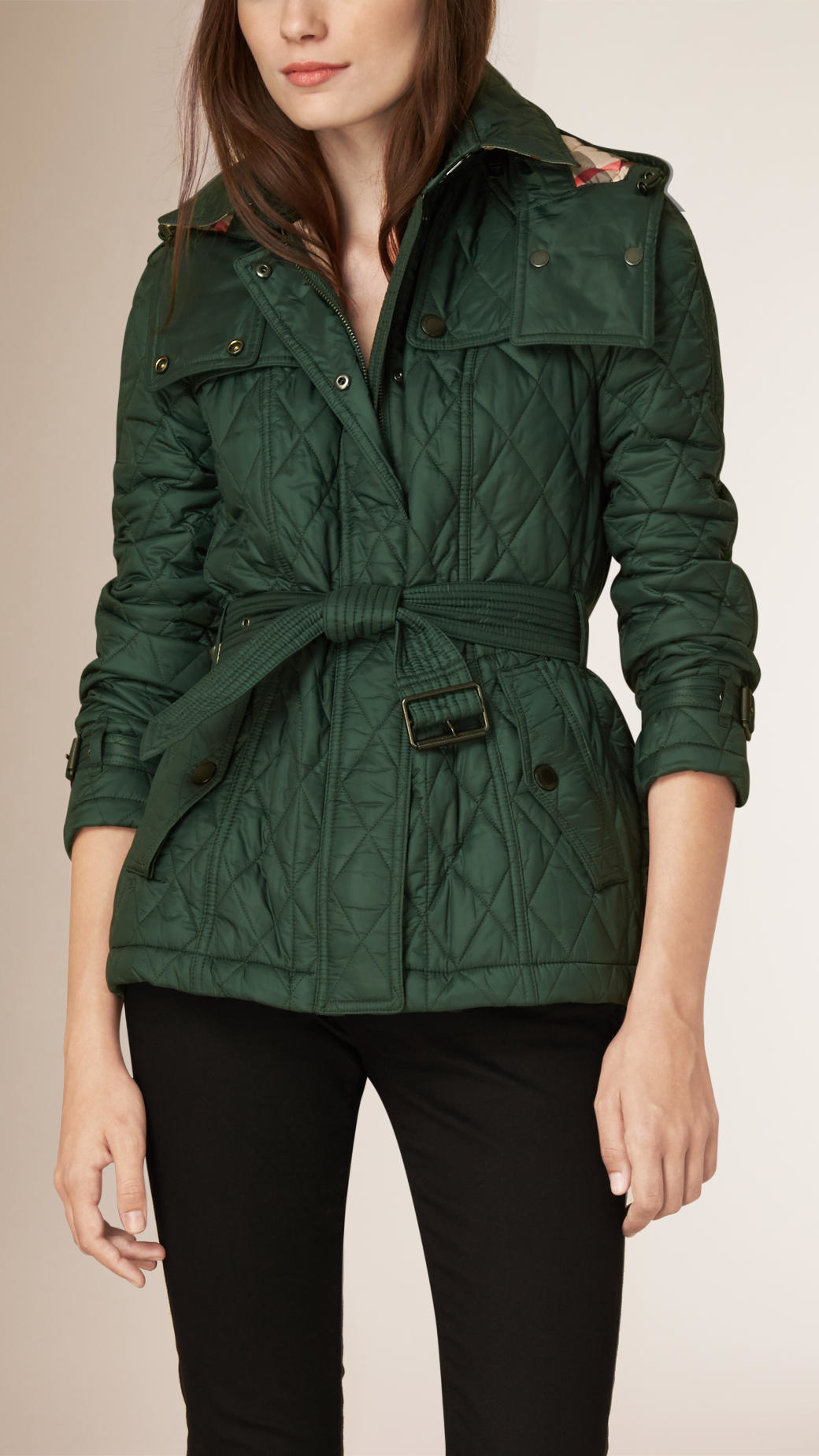 Burberry Diamond Quilted Jacket in Green | Lyst : quilted belted coat - Adamdwight.com
