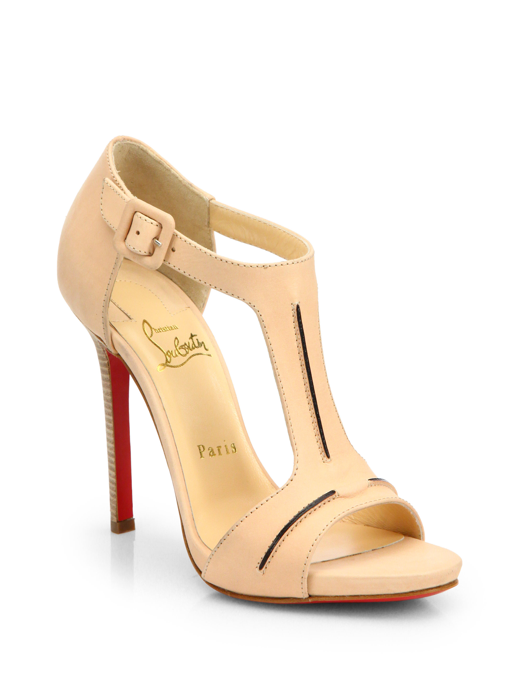 christian louboutin sandals White leather stacked heels | The ...
