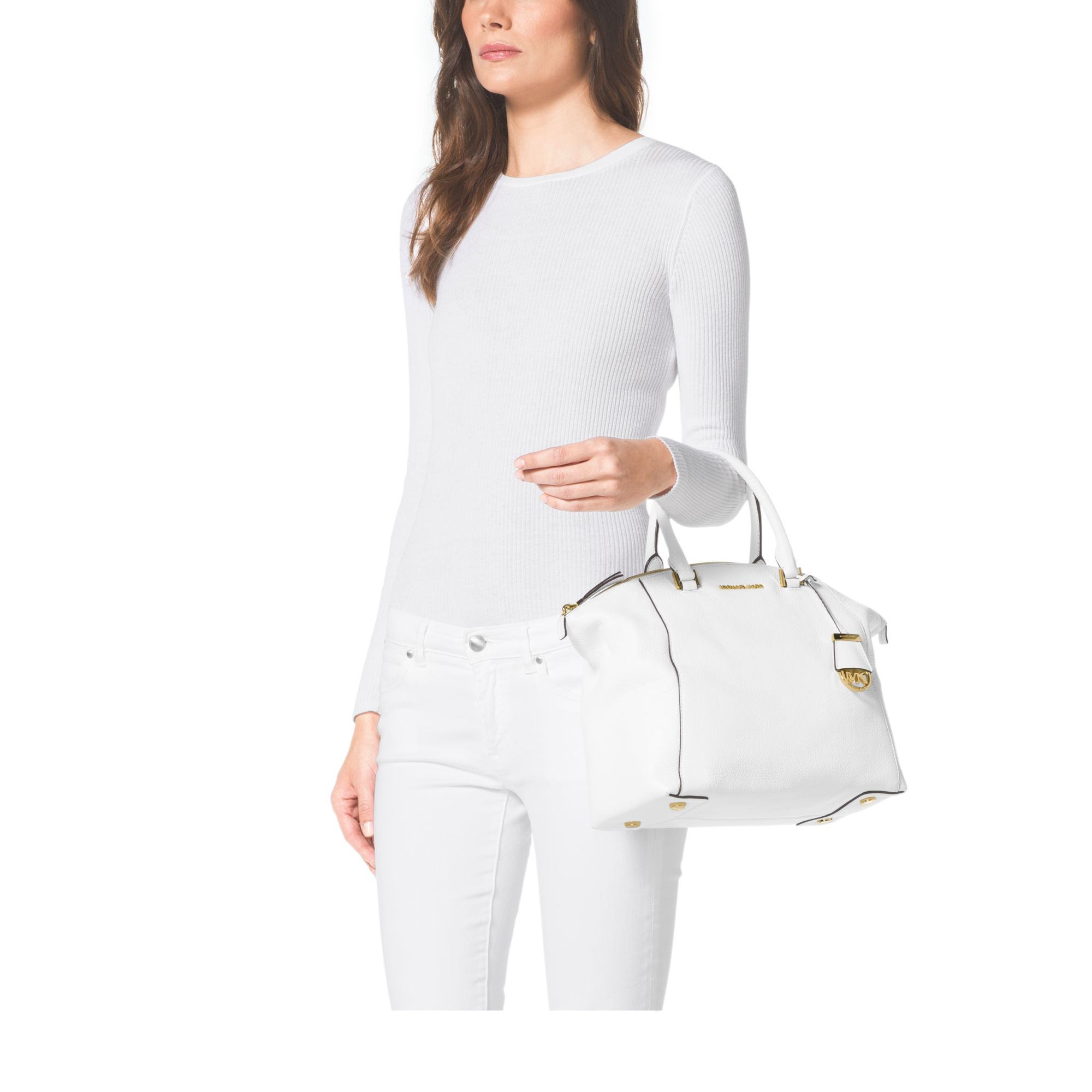 aa17b6e1ae4d Michael Kors Riley Large Pebbled-leather Satchel in White - Lyst
