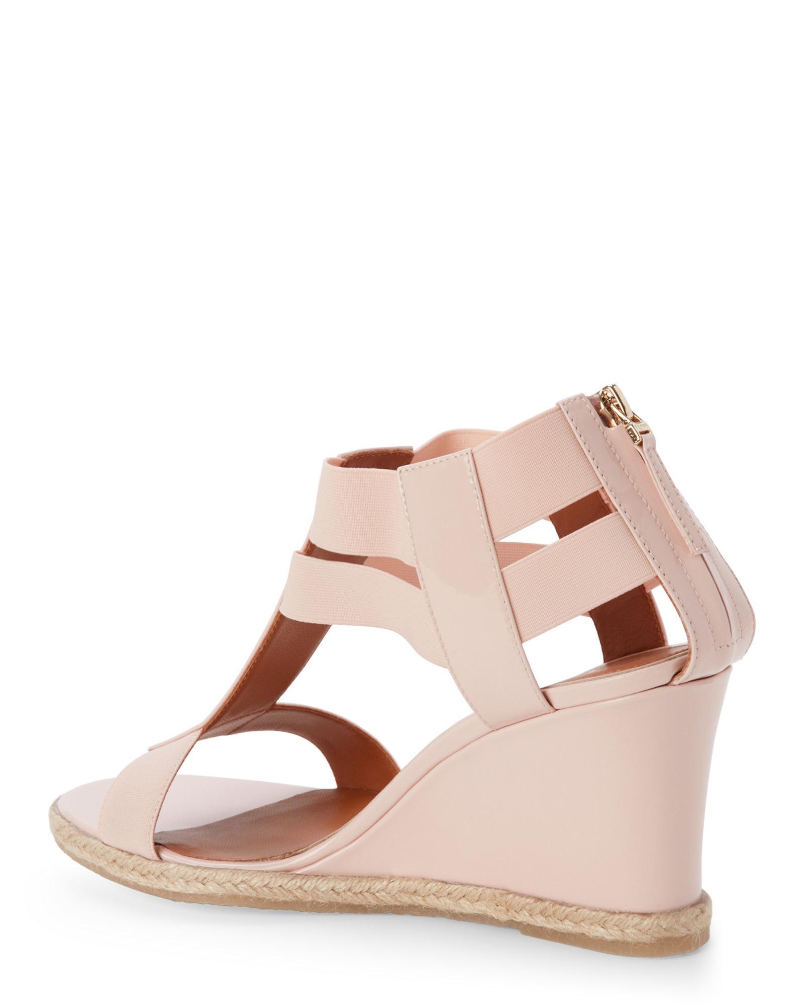 fendi pink carioca wedge sandals in pink lyst