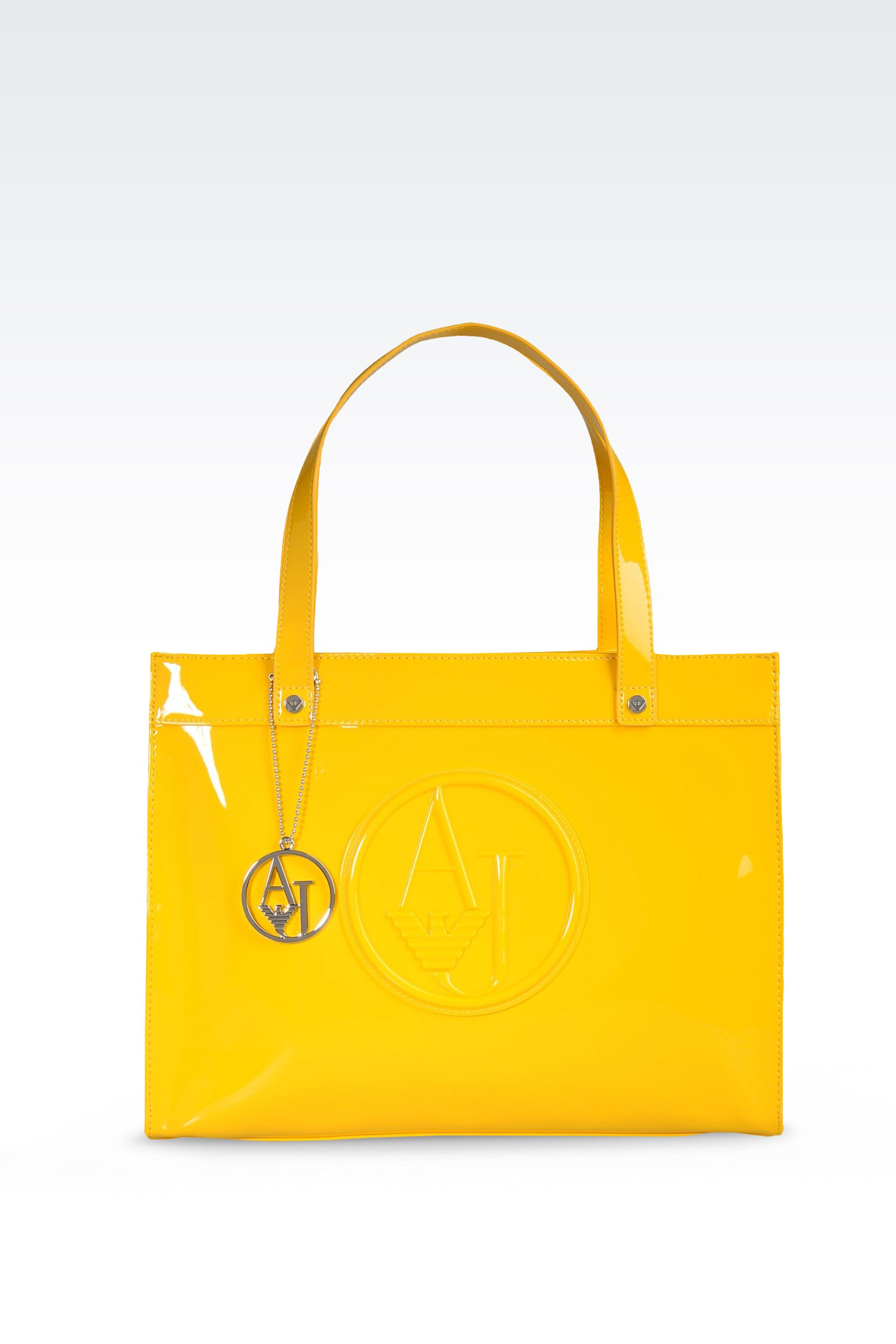 Lyst - Armani Jeans Eco Patent Leather Shopping Bag with Charms in ... 039a102a6060f