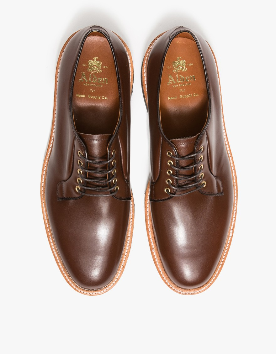 Alden lombardy plain toe blucher in brown for men lyst for The alden