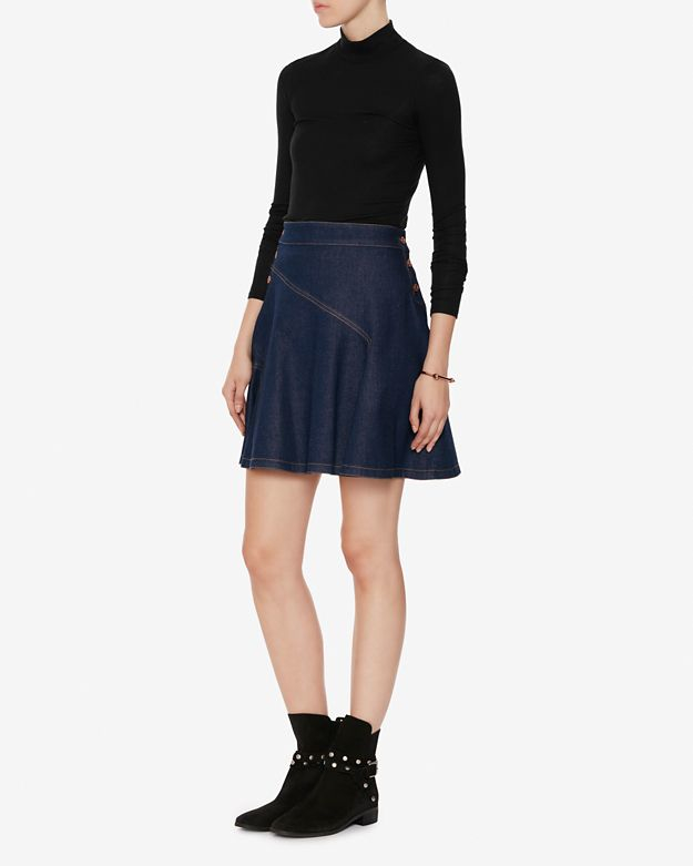 see by chlo 233 denim flare skirt in blue lyst