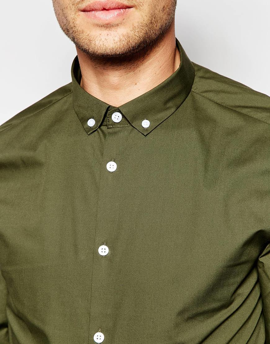 Asos smart shirt in khaki with button down collar in for Khaki button up shirt