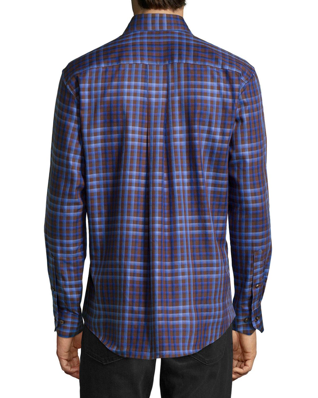Lyst Neiman Marcus No Iron Plaid Sport Shirt In Purple