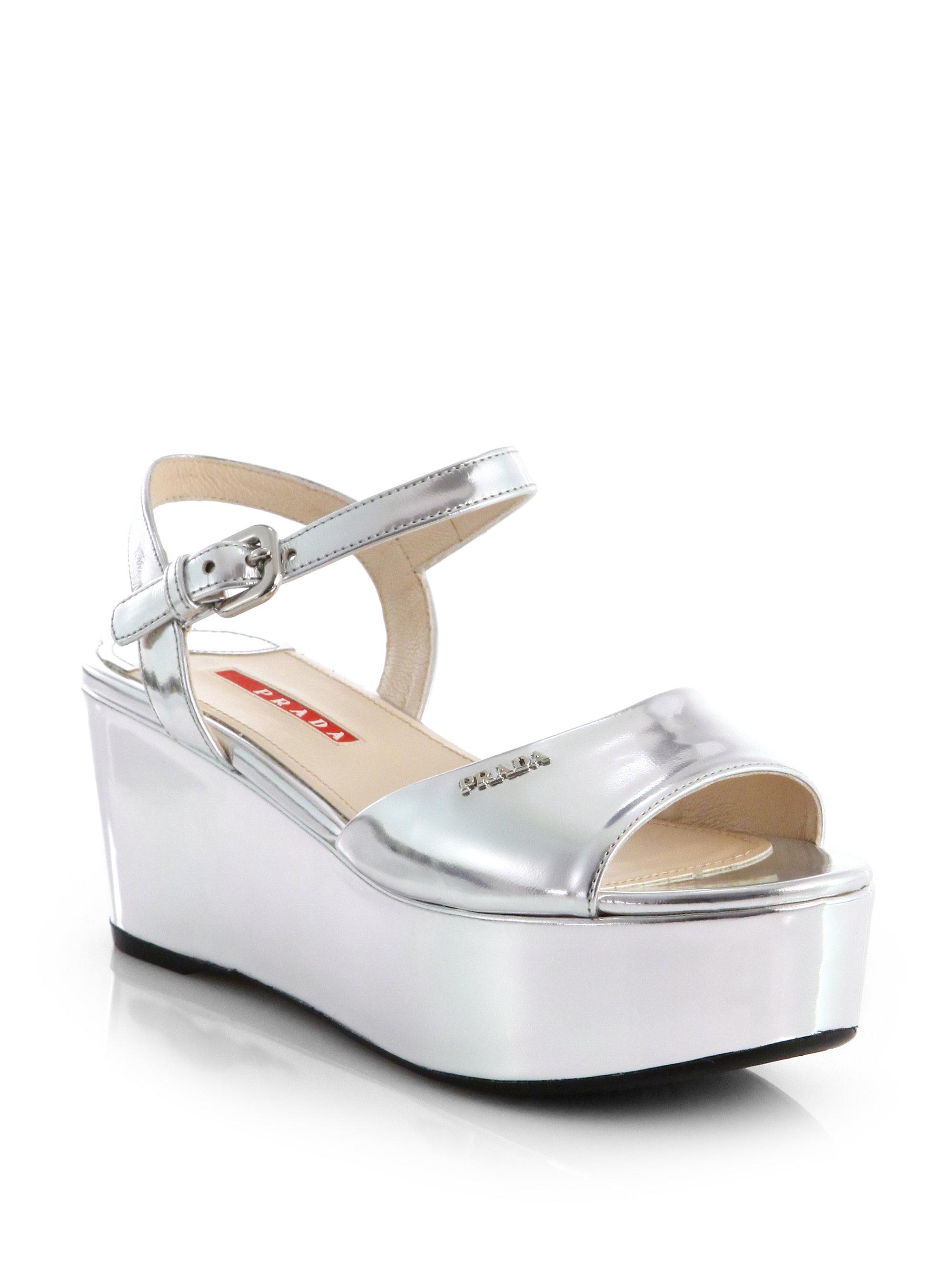 ca06ccec5f1c Lyst - Prada Metallic Leather Platform Wedge Sandals in Metallic