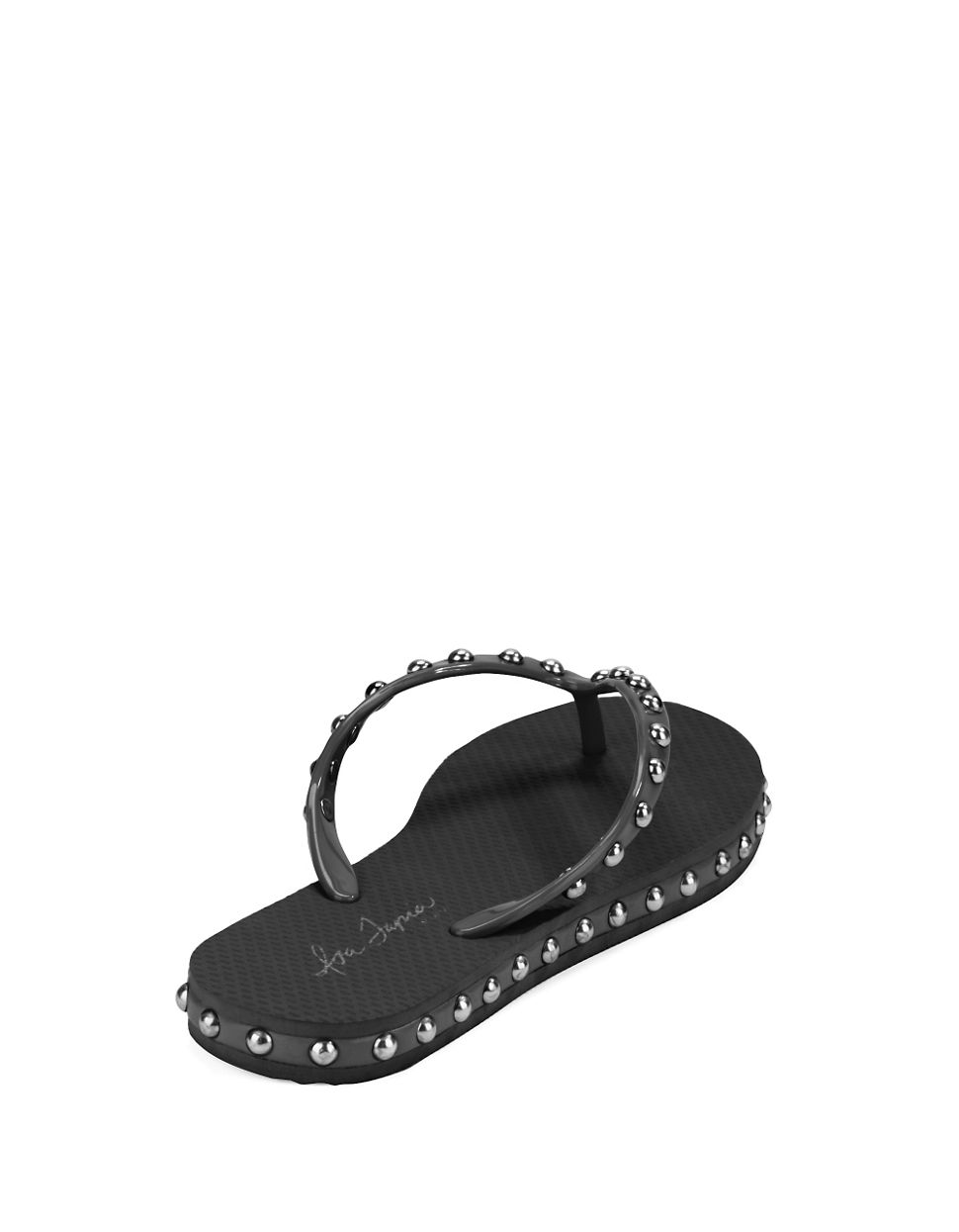 Isa Tapia Kate Studded Flip Flops In Black - Lyst-8956