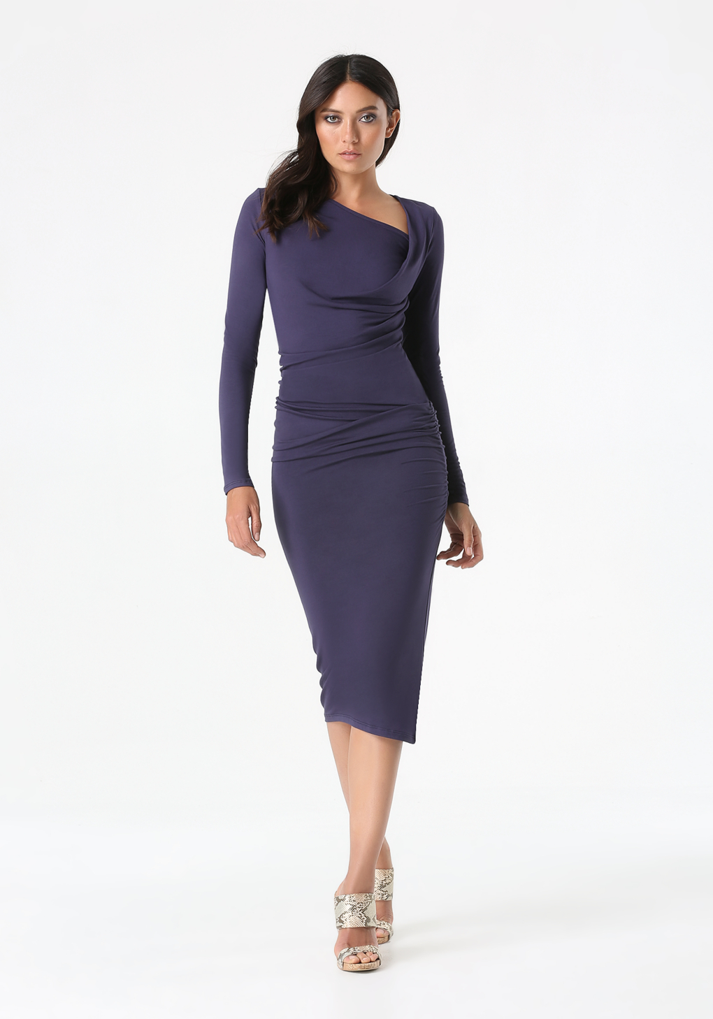 Bebe Asymmetric Neck Midi Dress In Blue Lyst