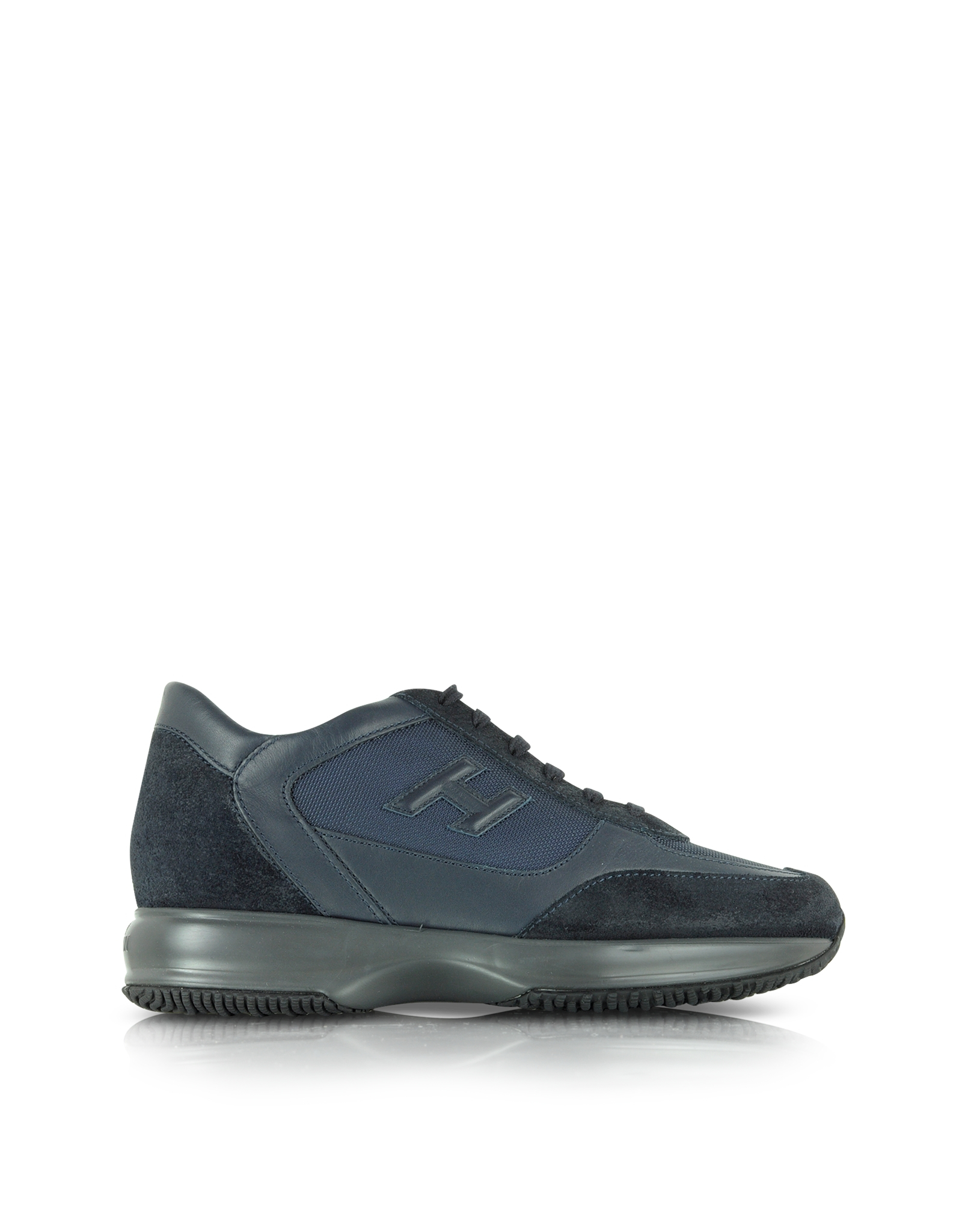 hogan interactive dark blue fabric and suede sneaker in blue for men lyst. Black Bedroom Furniture Sets. Home Design Ideas