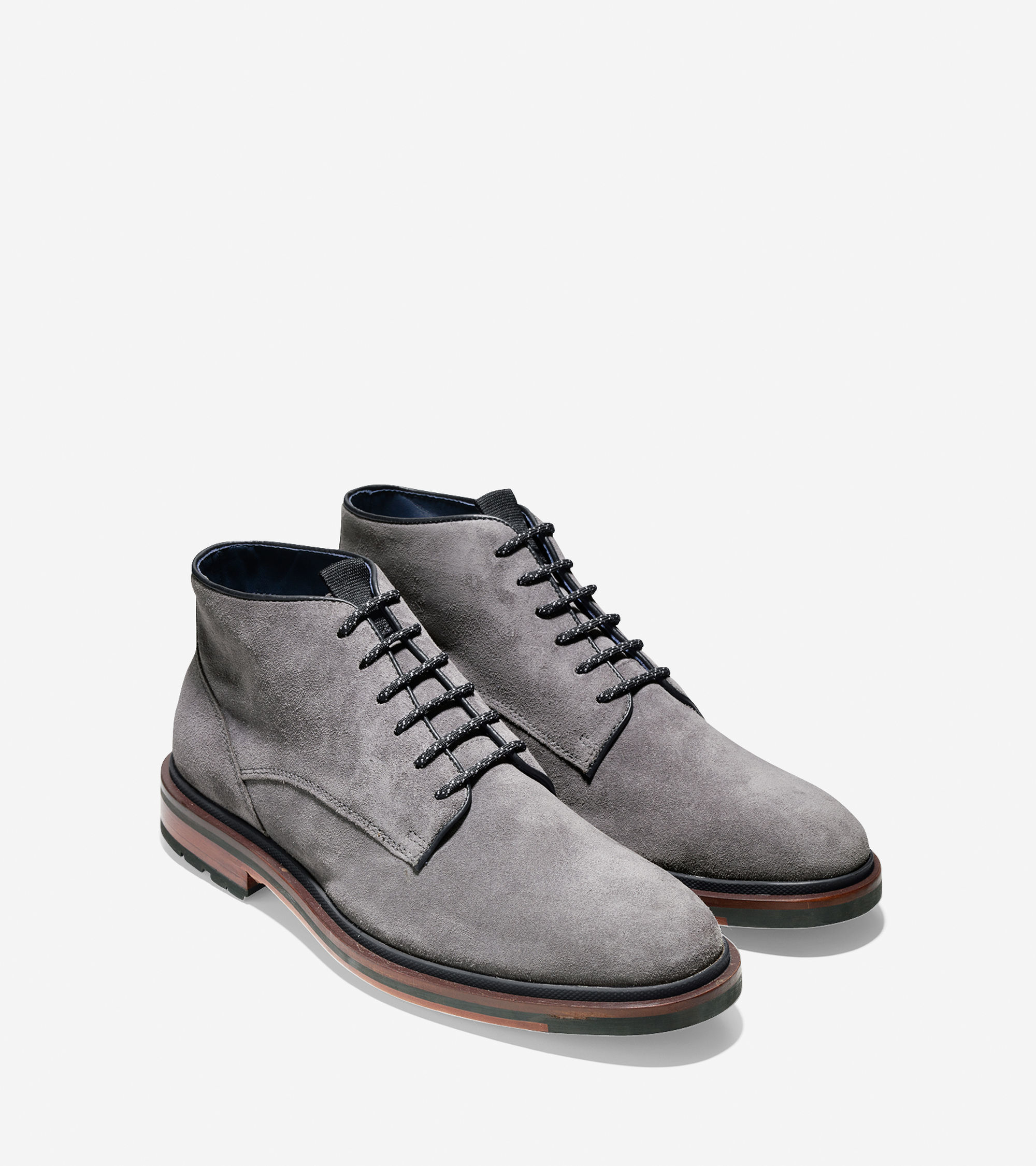 cole haan cranston suede chukka boots in gray for lyst