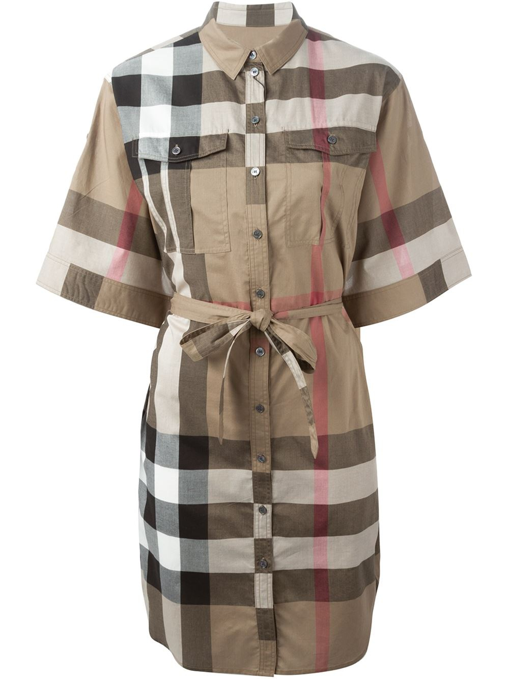 Burberry brit checked shirt dress in beige nude for Burberry brit checked shirt