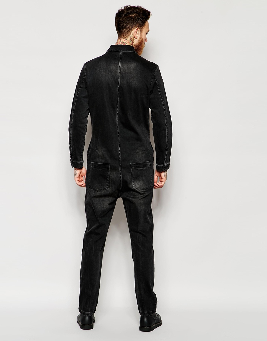 lyst asos denim boiler suit with zip details in black
