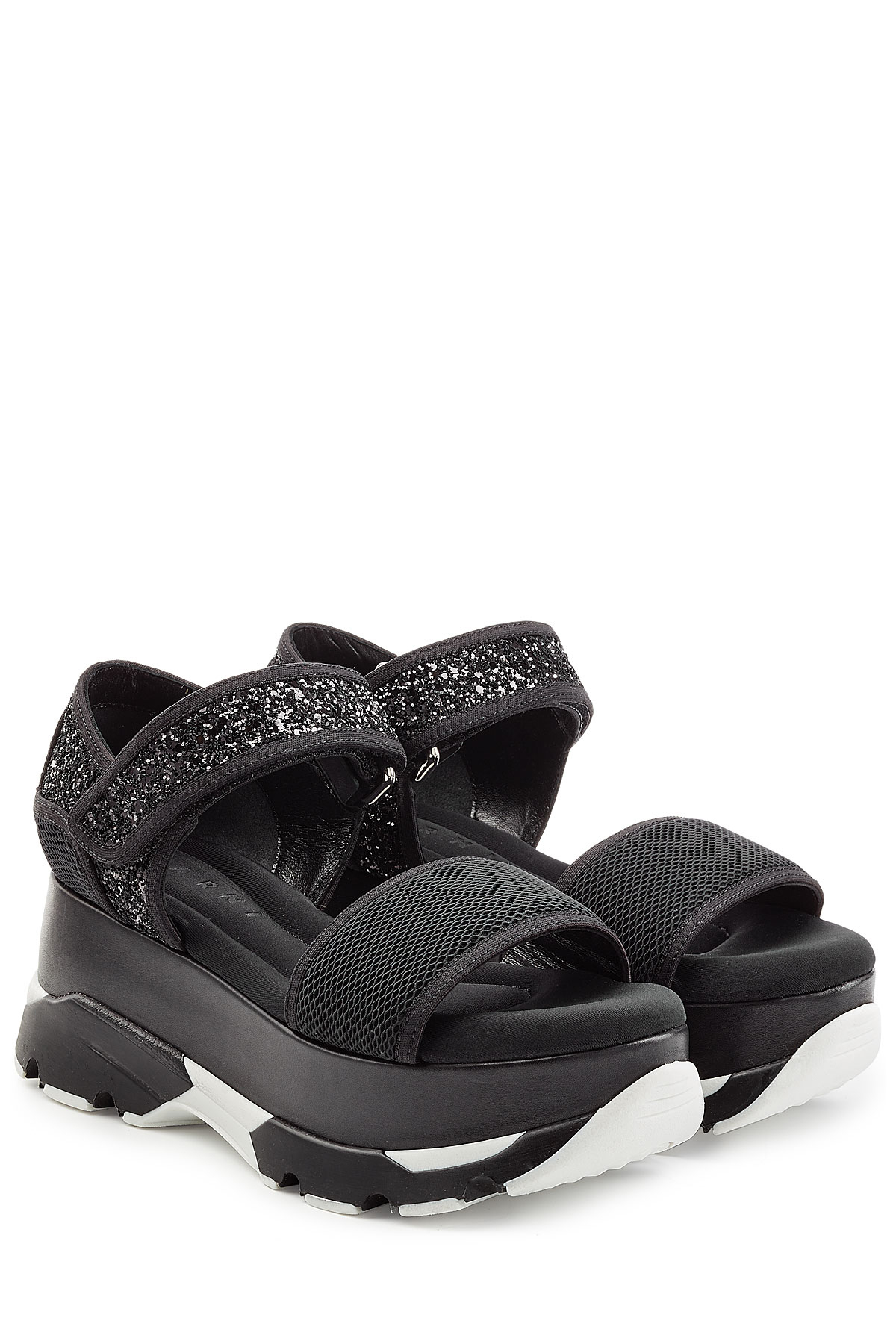 Marni Platform Sandals With Leather Mesh And Glitter
