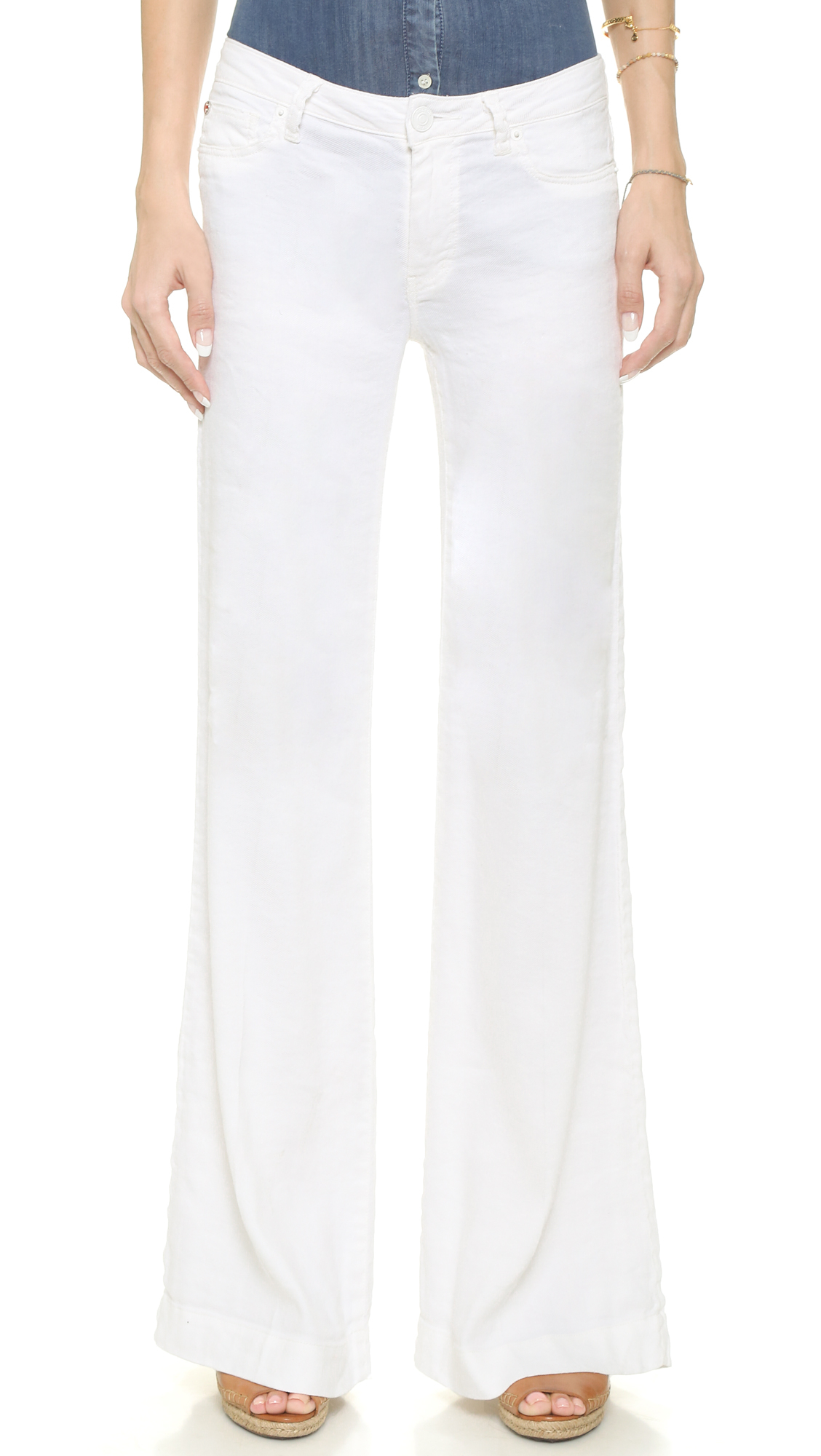 Hudson jeans Gwen Wide Leg Linen Pants - White in White | Lyst