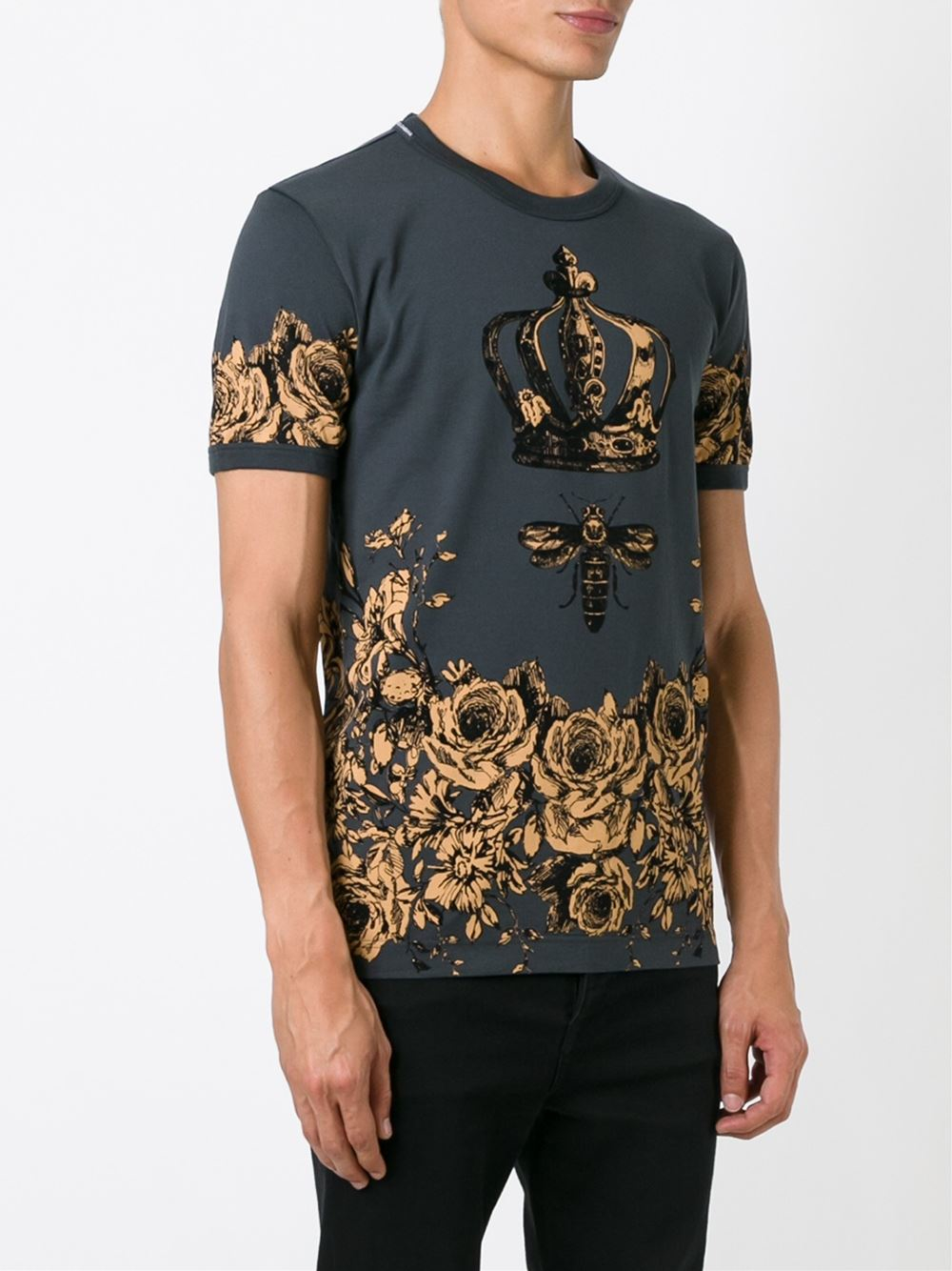 Dolce gabbana floral bee and crown print t shirt in gray for Dolce and gabbana printed t shirts