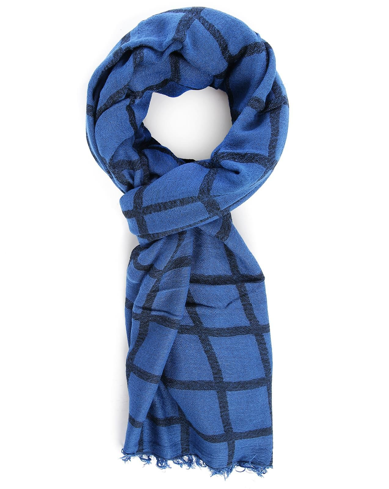 Ikks Blue Checked Scarf in Blue for Men
