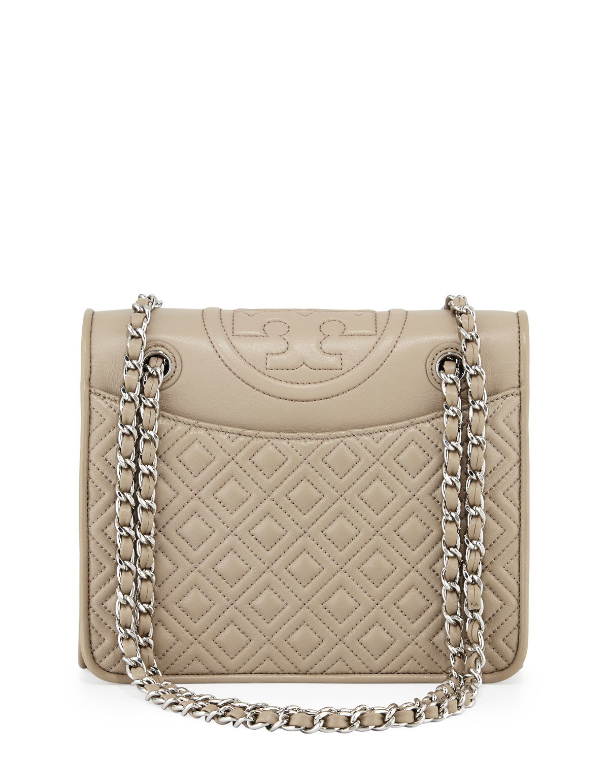 8c924f6db65 Tory Burch Fleming Quilted Medium Flap Shoulder Bag in Gray - Lyst
