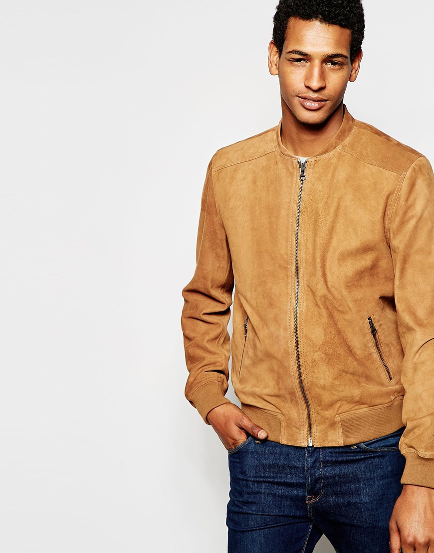 Lyst Selected Suede Bomber Jacket In Brown For Men