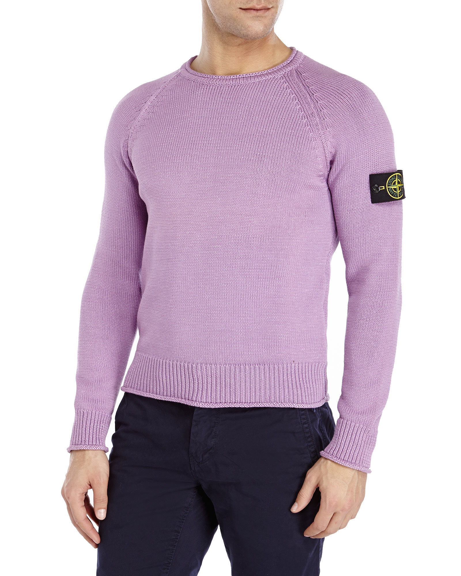 Stone island Crew Neck Knit Sweater in Purple for Men | Lyst