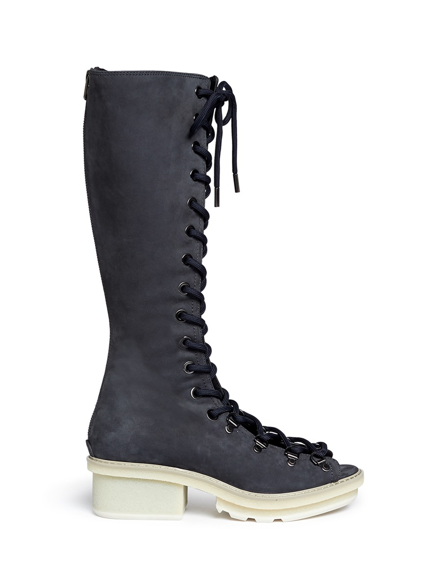 3.1 Phillip Lim 'Mallory' Open Lace-Up Sandal Boots in Blue