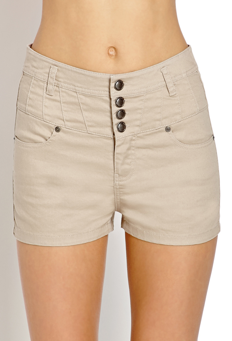 Forever 21 High-waisted Denim Shorts in Natural | Lyst
