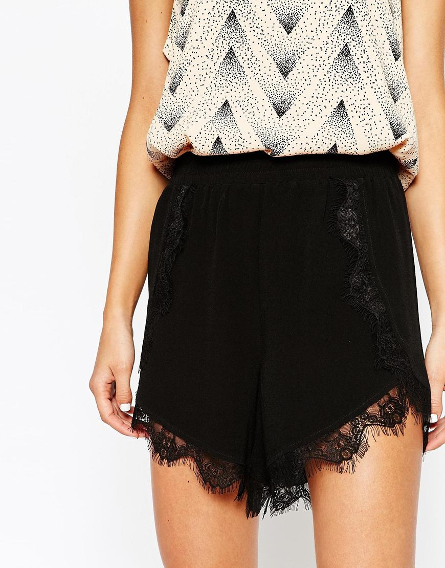 We are totally in love with these black shorts. Featuring a chic satin material and unreal lace trim, these look amazing paired with the matching satin cami top. We currently offer worldwide delivery. The prices listed below are per order, not per item. All orders that contain pre-ordered items will.