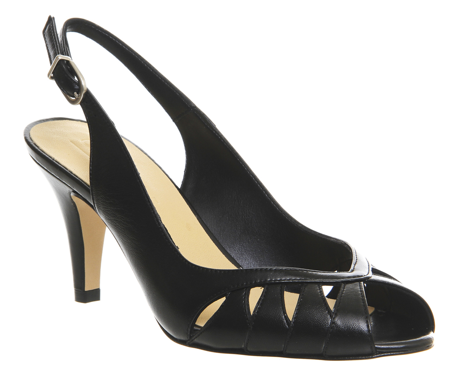 Black Leather Office Women Shoes