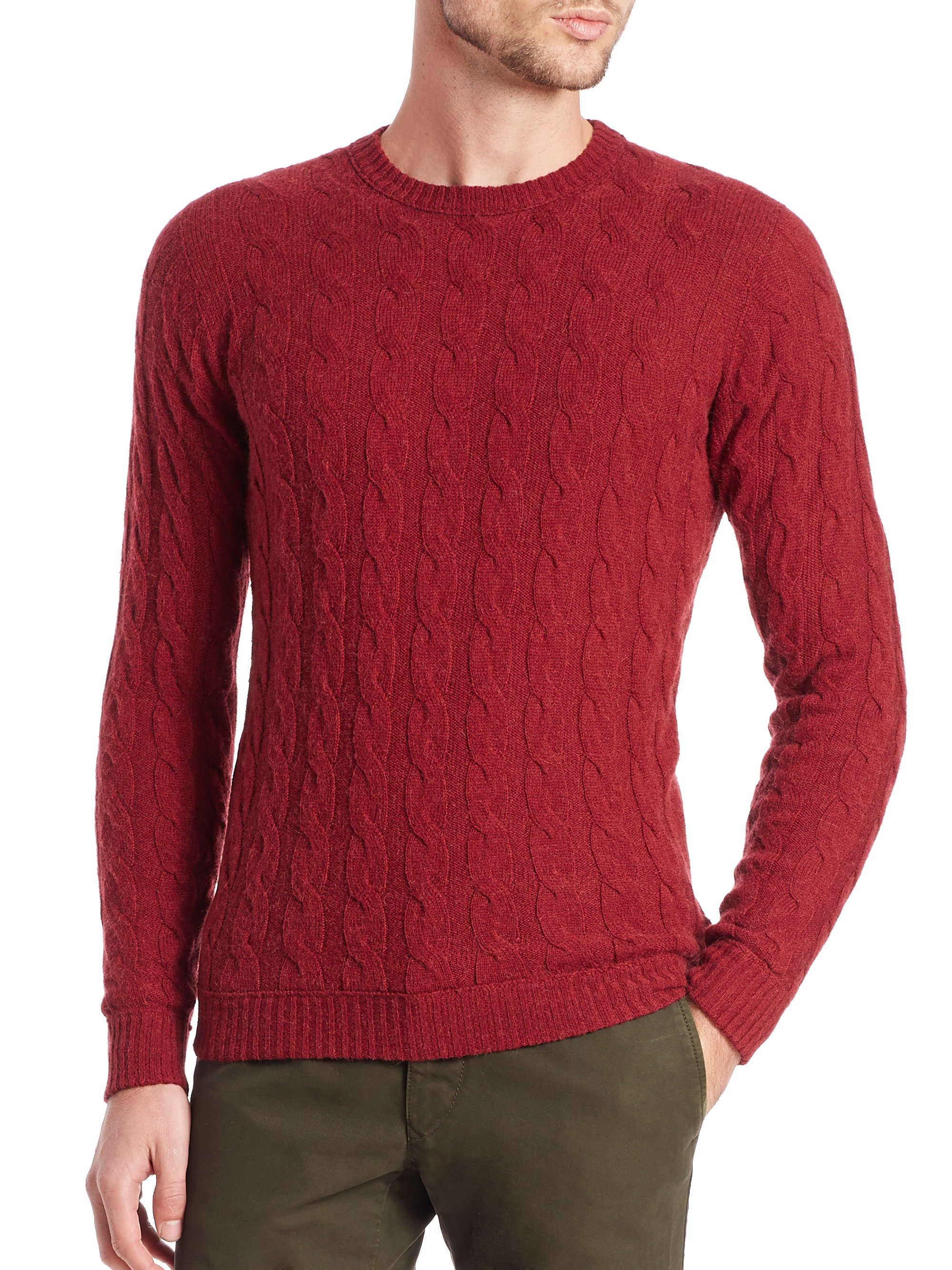 Slowear Camel Hair Cable-knit Sweater in Red for Men | Lyst