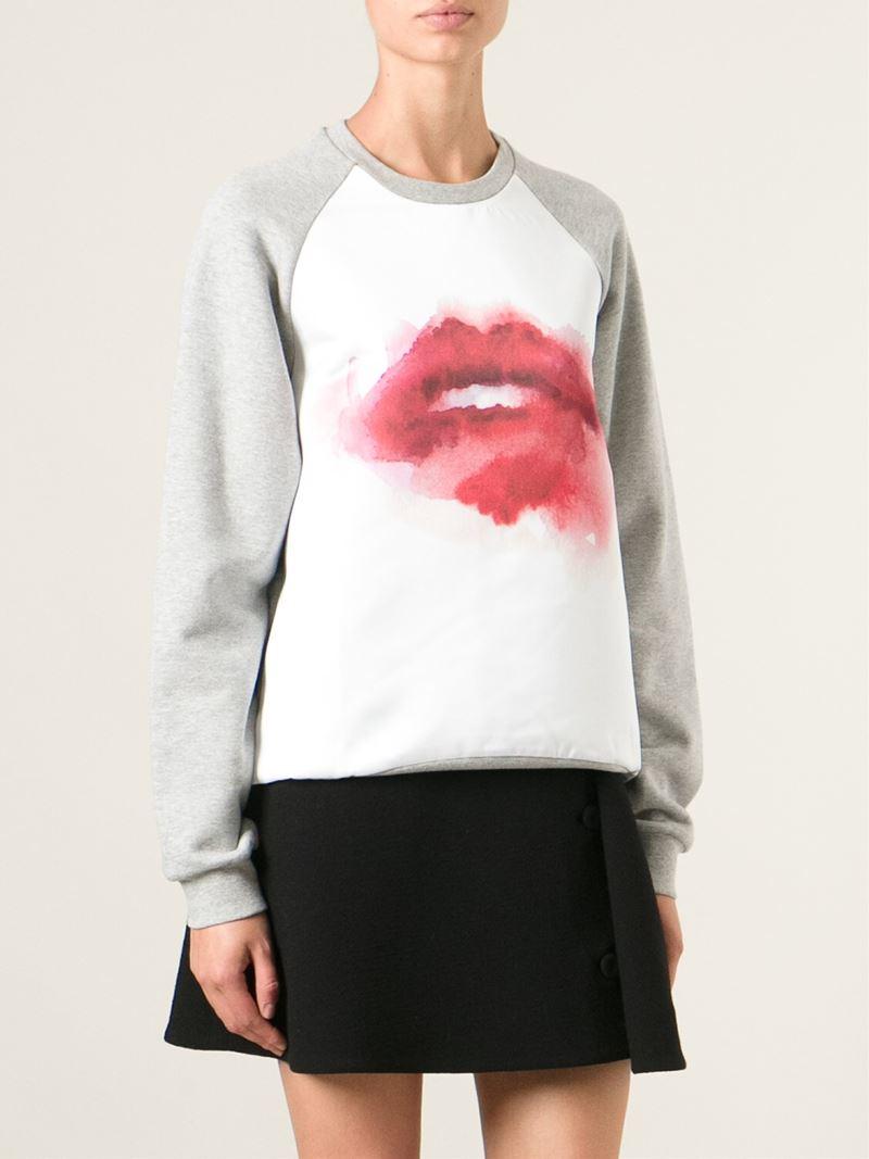 ad825e393c Lyst - MSGM Lips Print Sweatshirt in Gray
