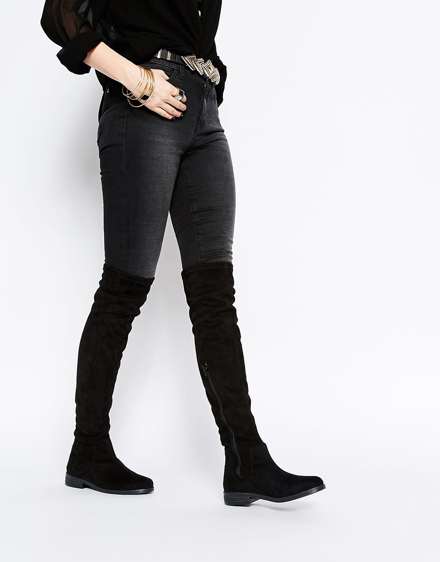 Asos Keeper Flat Over The Knee Boots in Black | Lyst
