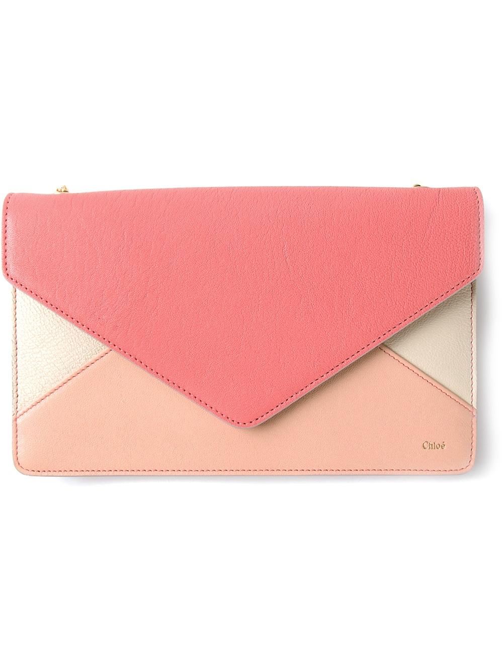 chlo colour block envelope hand bag in pink lyst. Black Bedroom Furniture Sets. Home Design Ideas