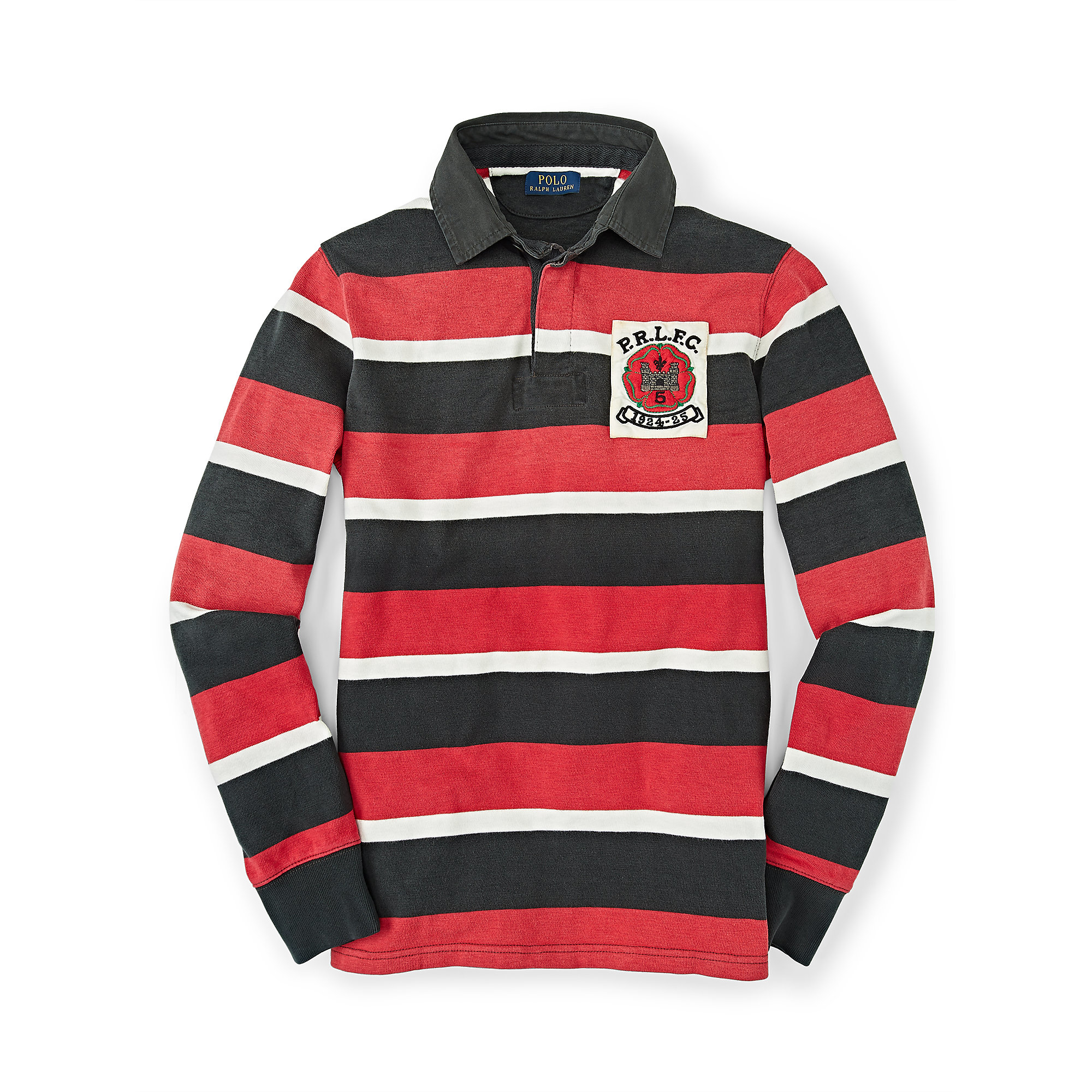 26e8f4dabb5 Polo Ralph Lauren Striped Cotton Rugby Shirt in Red for Men - Lyst