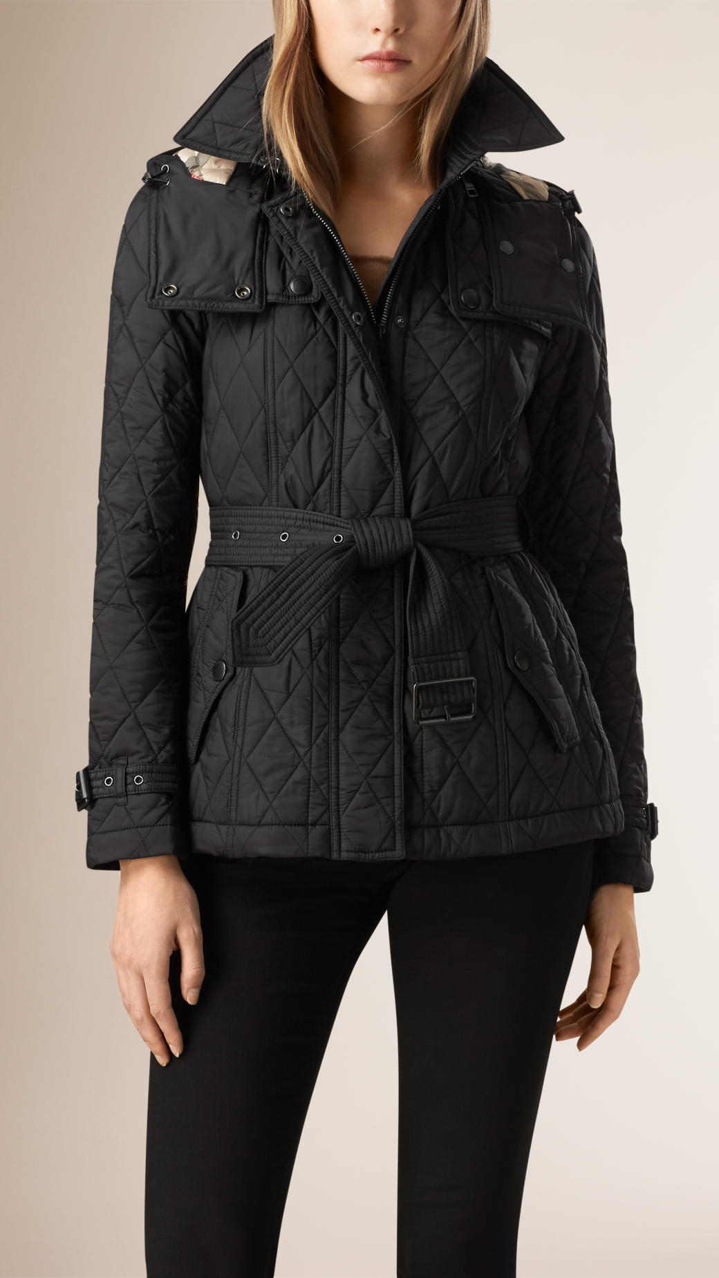 Burberry Quilted Trench Jacket With Detachable Hood Black