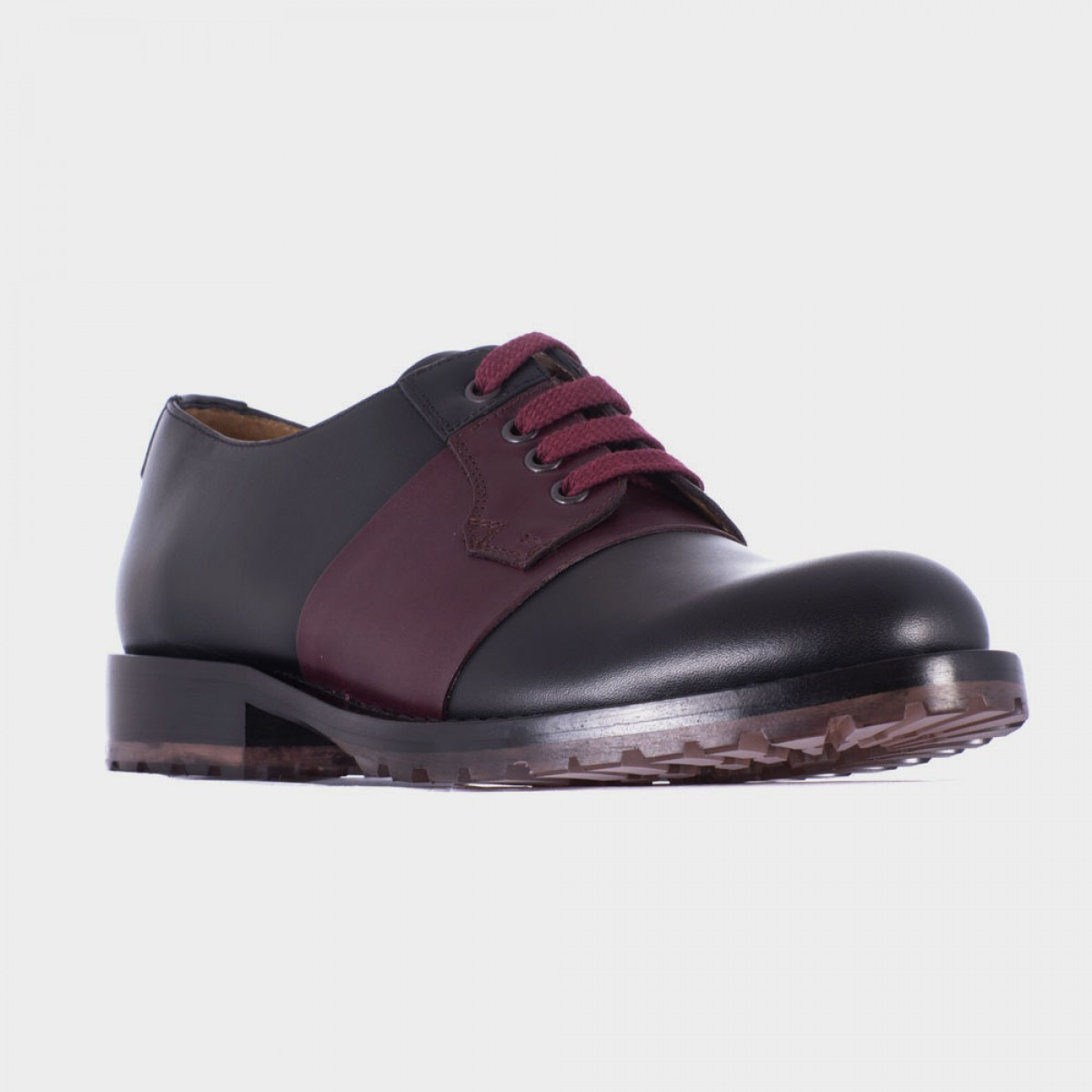 valentino black leather derby shoes with bordeaux band in