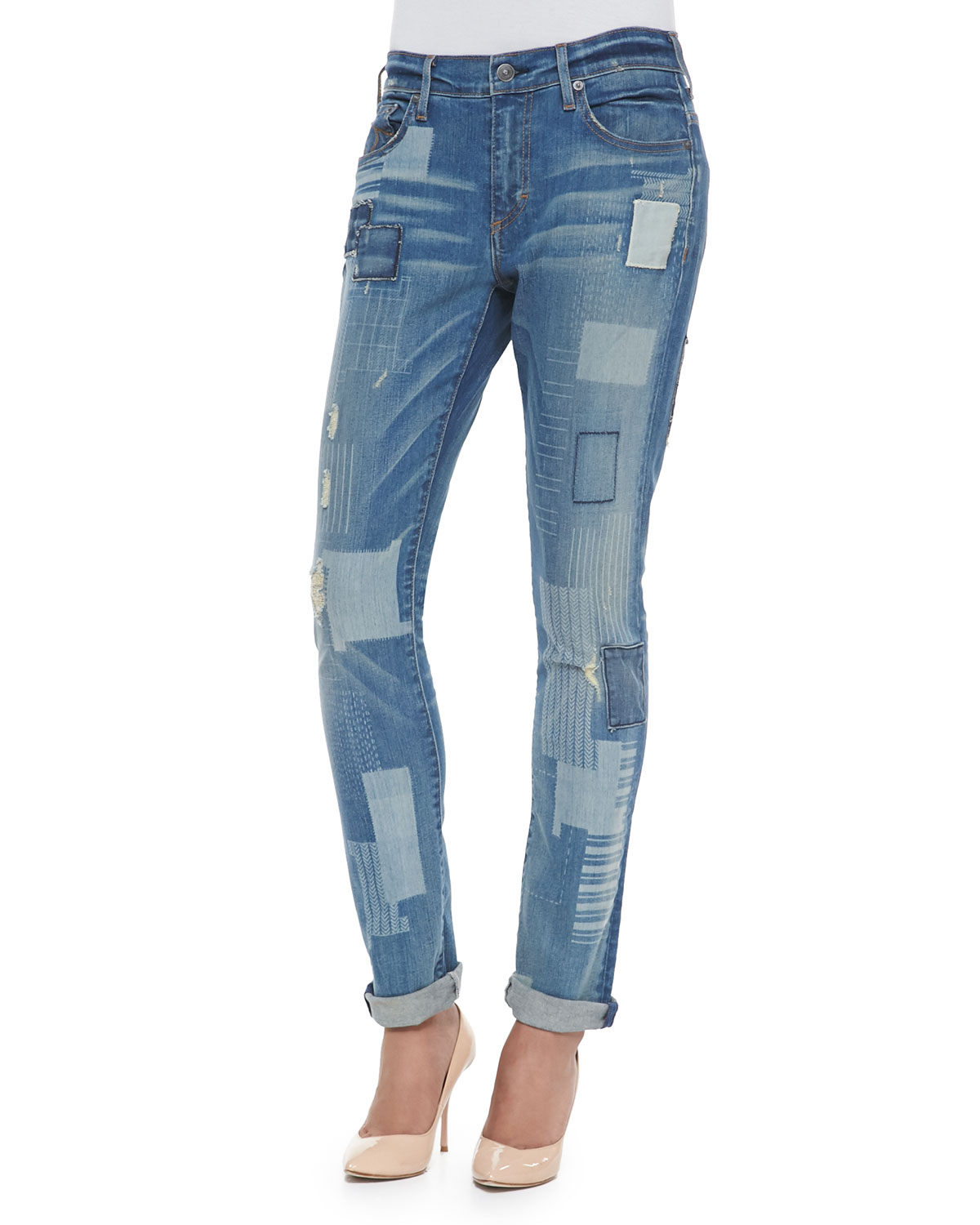 true religion audrey mid rise patchwork jeans in blue. Black Bedroom Furniture Sets. Home Design Ideas