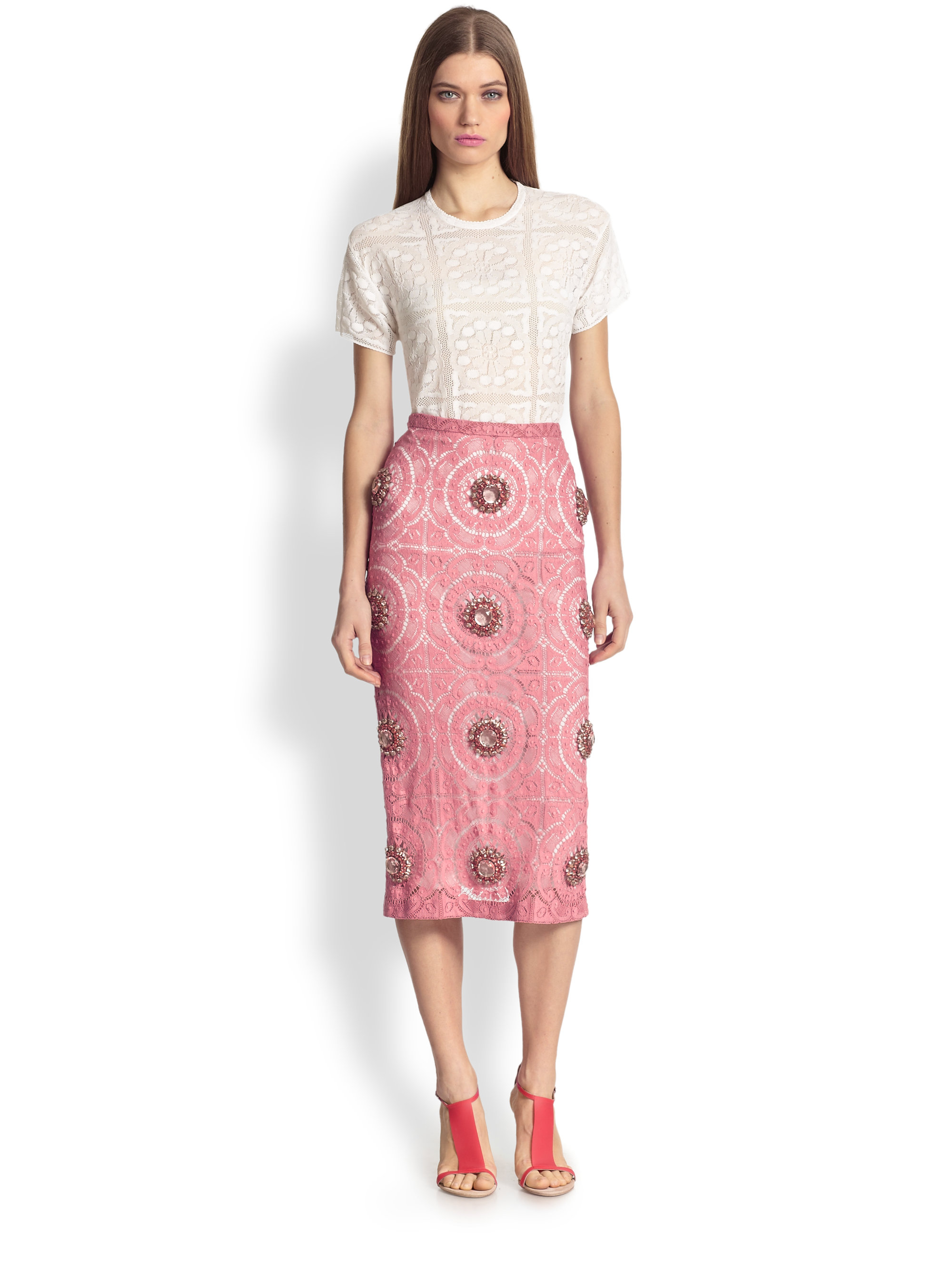 Lyst - Burberry Prorsum Embellished Lace Pencil Skirt in Pink