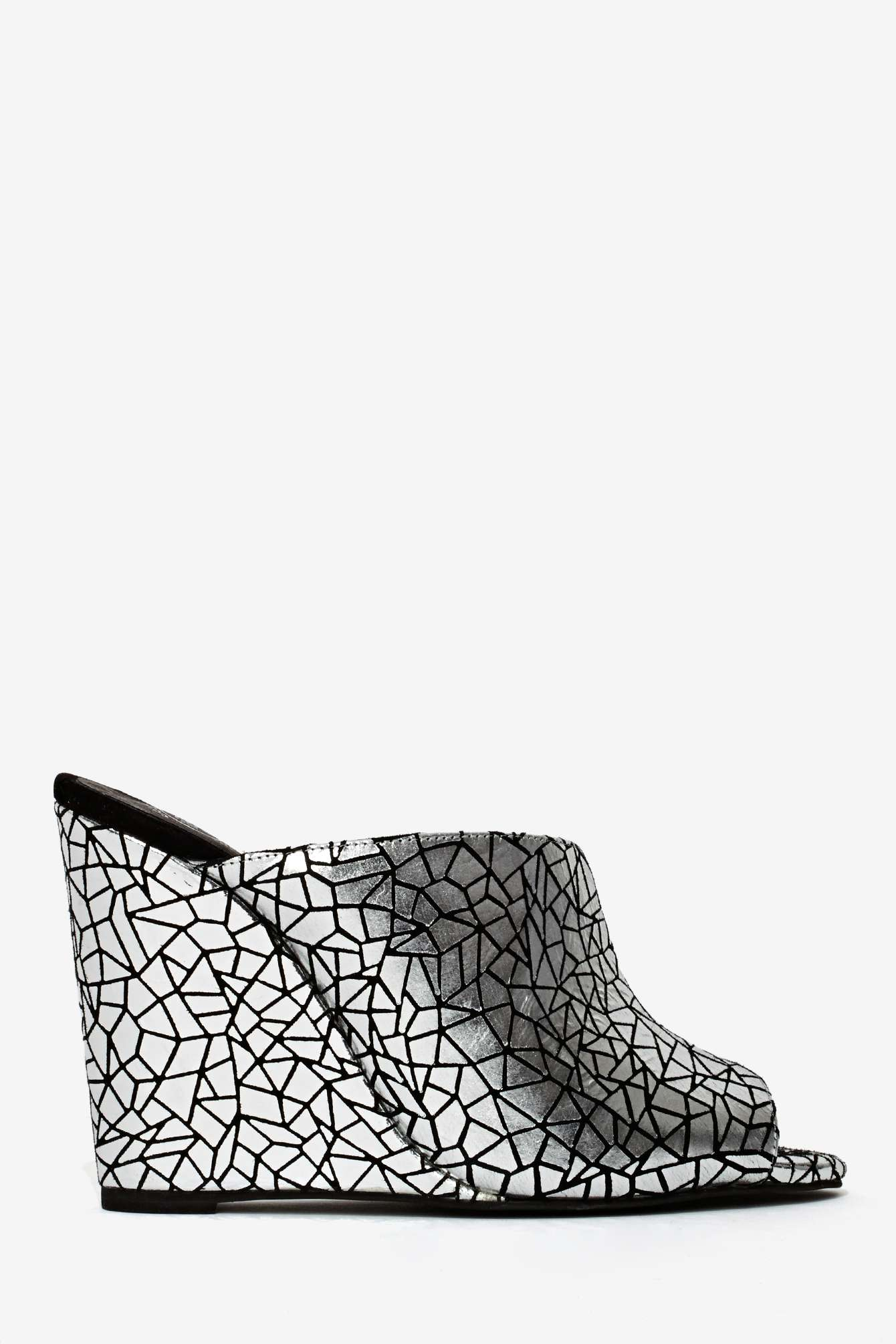 nasty gal jeffrey campbell jovie leather wedge silver in silver lyst. Black Bedroom Furniture Sets. Home Design Ideas